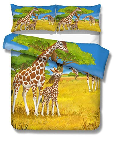 Juego de ropa de cama con patrón de jirafa, 1 funda de edredón y 1 o 2 fundas de almohada, Prairie-140 x 210 para cama de 9 m