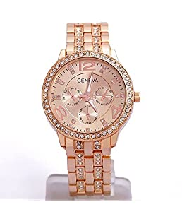 Men's Watch, Rose Gold Big Dial Alloy Crystal Rhinestone Quartz Leisure Classic Wrist Watch 40mm - Happy Hours
