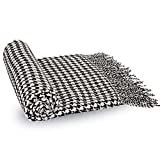 Glitzhome Woven Throw Blanket - Acrylic Reversible Black & White Plaid Wrap Scarf - Shawl Wrap for Women & Men 60x50inches (360g)