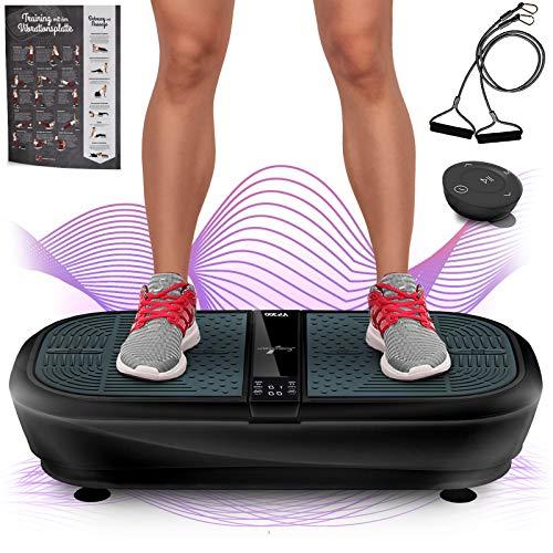 Sportstech Profi Vibrationsplatte VP300 mit 3D Wipp Vibrations Technologie, 2x1000W max Motoren Leistung + Bluetooth Musik, Riesige Fläche,einmaliges Design + Trainingsbänder + Fernbedienung + Poster