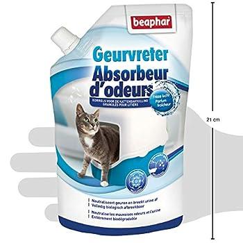 BEAPHAR - Absorbeur d'odeurs - Granulés pour litière pour chat - Formule concentrée – Neutralise les mauvaises odeurs – Laisse un agréable parfum (Fraîcheur) – 400 g = jusqu'à 3 mois d'utilisation