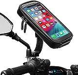 "ENONEO Soporte Movil Moto Impermeable 360° Rotación Soporte Telefono Motocicleta con Cubierta de Lluvia Funda Soporte Movil Scooter Retrovisor hasta 6.7"" (Negro)"