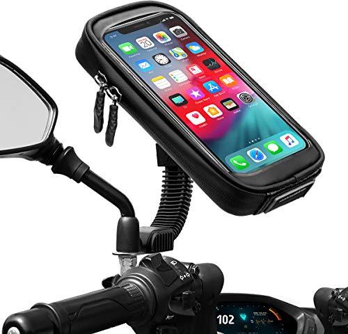 ENONEO Soporte Movil Moto Impermeable 360° Rotación Soporte Telefono Motocicleta con Cubierta de Lluvia Funda Soporte Movil Scooter Retrovisor hasta 6.7' (Negro)