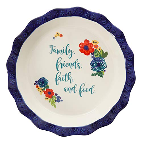 The Pioneer Woman'Dazzling Dahlias' Sentiment Pie Plate Family, Friends, Faith, and Food