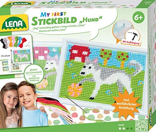 Lena 42626 - Kit de punto de cruz para perro, juego completo con marco de bordado, aguja roma, hilo...