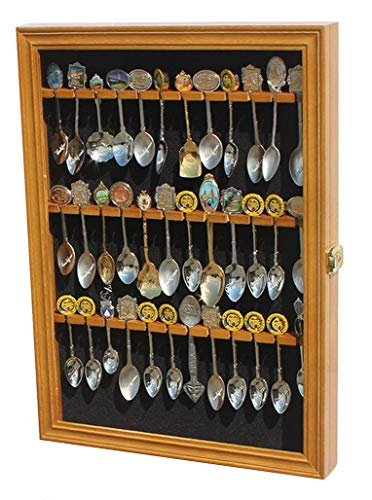 Tea Spoon Souvenir Spoon Display Case Rack Cabinet, REAL Glass Door, (Oak Finish)