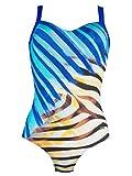 Naturana Badeanzug mit Korsage 73118, 46E, blau-sand-schwarz