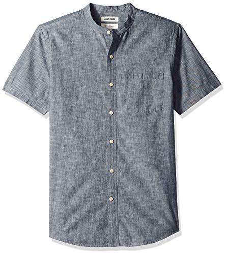 Goodthreads Men's Slim-Fit Short-Sleeve Band-Collar Chambray Shirt, -navy, Large