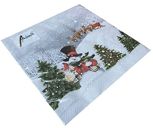 Papier Servietten Happy Holidays Santa Snowman With Hat Lunch Fest Party ca 33x33cm Herbst Winter Weihnachten