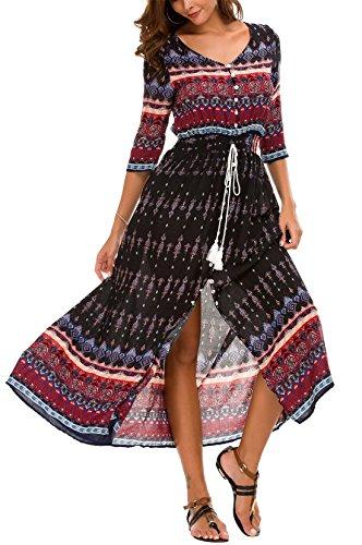 KorMei - Vestito da donna con fiori in stile bohémien, maniche 3/4, linea A, lungo, per feste, colore: nero e vino L