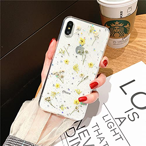 Estuche Transparente para teléfono con Brillo de Flores secas en Caliente para Apple iPhone 6 7 8 Plus X XS XR MAX 11 Pro 12 Mini Funda Transparente con Estrella epoxi-para_iPhone_7_Yellow