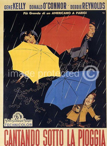 Singin' in the Rain 1952 Vintage Movie Poster Art Italian Version 24x36