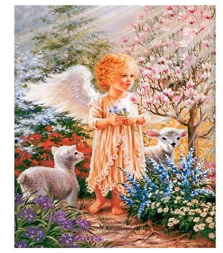Pintura Al Óleo Angelito Niña Y Cordero Niños 500 Piezas Rompecabezas Regalos De Cumpleaños para Niños Rompecabezas De Desafío De Color para Niños