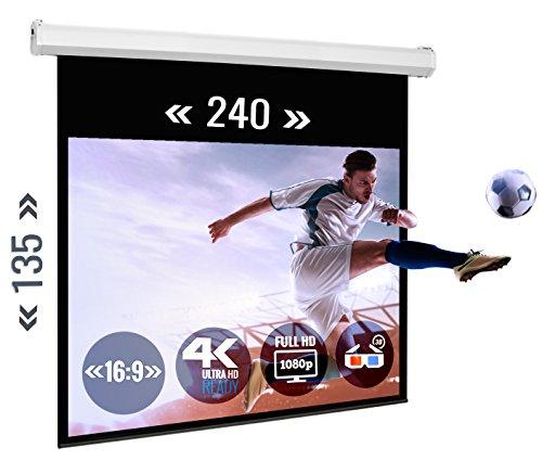 ULTRALUXX Motorscherm 240x138 cm mat wit projectieoppervlak, E-Line Serie Home Theater Beamer Canwand, 275 cm (108 inch) diagonaal, montagematen 276x9x9 cm, 16:9 masker, incl. afstandsbediening en wandschakelaar