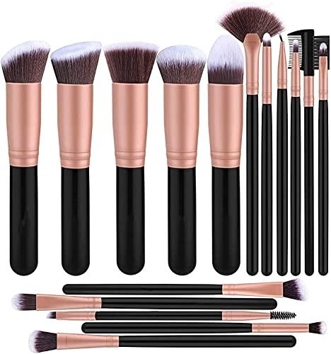 Cadialan Juego de 16 brochas de maquillaje sueltas para sombra de ojos, base, corrector, colorete, herramienta de belleza (oro negro)