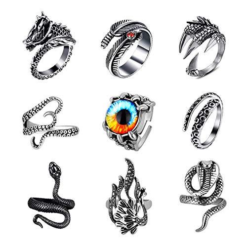 Anillos vintage punk para hombres y mujeres, gótico garra de dragón pulpo cobra serpiente anillos abiertos, conjunto de joyas de anillo fresco ajustable, 9 piezas
