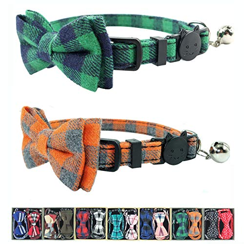 Cat Collar Breakaway with Bell and Bow Tie, Plaid Design Adjustable Safety Kitty Kitten Collars Set...