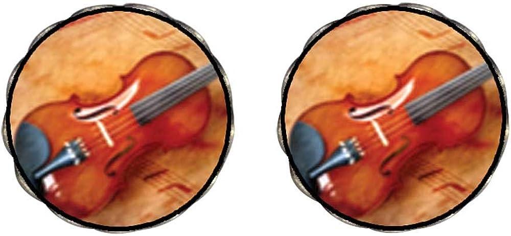 GiftJewelryShop Bronze Retro Style Violin Music Photo Clip On Earrings Flower Earrings 12mm Diameter