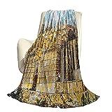 Manta gótica Suave y cálida de Felpa Adecuada para Todas Las Estaciones Gran Edificio gótico Orilla del mar Catedral de Palma de Mallorca Vista Desde la Carretera Viajes Uso de Oficina en ca
