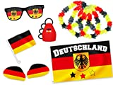 Alsino 9 TLG WM Fanpaket Deutschland FP-01 Fanartikel Fussball Fanset Flagge Caxirola Brille