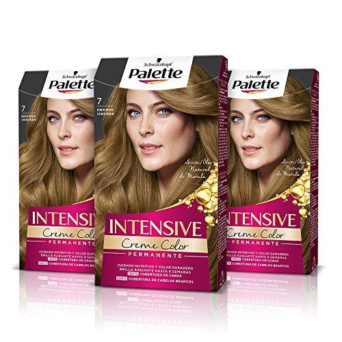Schwarzkopf Palette Intensive Creme Color – Tono 7 cabello Rubio Medio (Pack de 3) - Coloración Permanente de Cuidado con Aceite de Marula – Perfecta cobertura de canas, Color duradero hasta 8