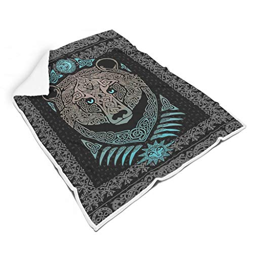 Butterfly Goods Cuddly Blankets Viking Bear Oversized Winter Clothing Multifunctional Graphic Wrap Throw – Suitable for Home Decor for Students Gift White 150 x 200 cm