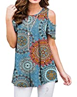 PrinStory Women's Short Sleeve Casual Cold Shoulder Tunic Tops Loose Blouse Shirts Floral Print Floral Print Mix Blue-US Large