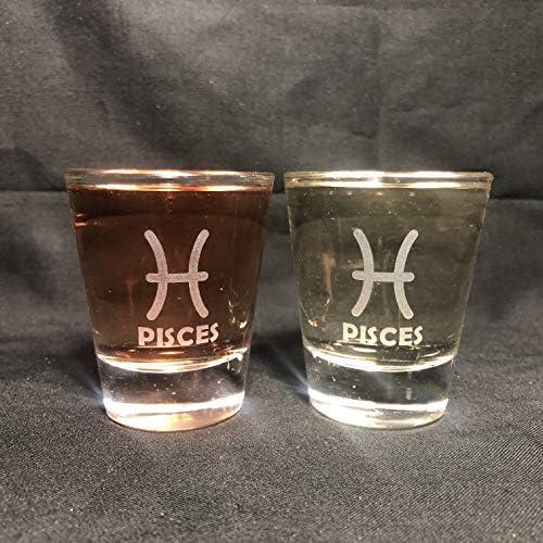 Alankathy Mugs Zodiac Signs Shot Glass set of 2 Aries Leo Cancer Pisces Scorpio Taurus Sagittarius product image