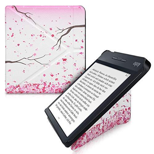 kwmobile Funda Compatible con Kobo Libra H2O - Carcasa magnética de Origami para e-Book - Flores Cerezo cayendo Rosa Claro/marrón Oscuro/Blanco