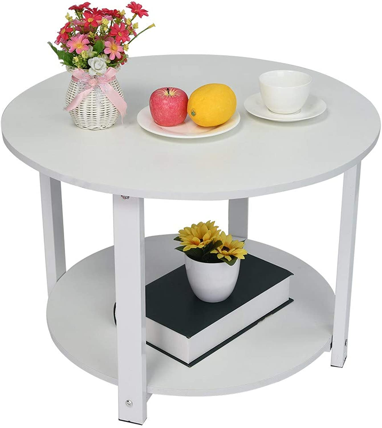 Clearance  Coffee Table,Fheaven Double Layer Round Storage Sofa Bedside End Table Bedroom Night Table Lower Shelf for Living Room