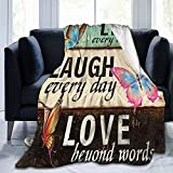 SYUTZSING Ultra-Soft Fleece Blanket Live Laugh Love Butterfly Throw Blanket Warm Blanket Lightweight Microfiber Bed Blanket for Sofa Couch - All Season Premium Bed Blanket 60'x50'
