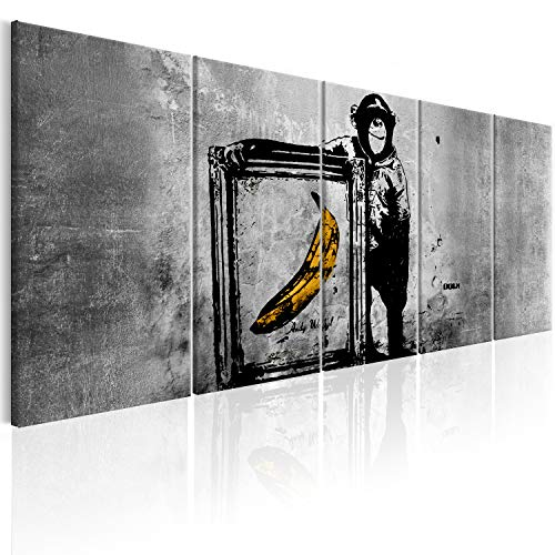 murando Akustikbild Banksy AFFE mit Banane 225x90 cm Bilder Hochleistungsschallabsorber Schallschutz Leinwand Akustikdämmung 5 TLG Wandbild Raumakustik Schalldämmung - Street Art i-C-0116-b-m