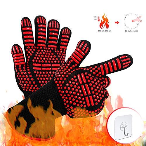 Backen VINSIC Hitzebest/ändige Handschuhe EIN Paar BBQ Kochhandschuhe zum Grillen 800℃ Extrem hitzebest/ändige Silikon-Ofenhandschuhe Schwei/ßen BBQ-Handschuhe Grillhandschuhe
