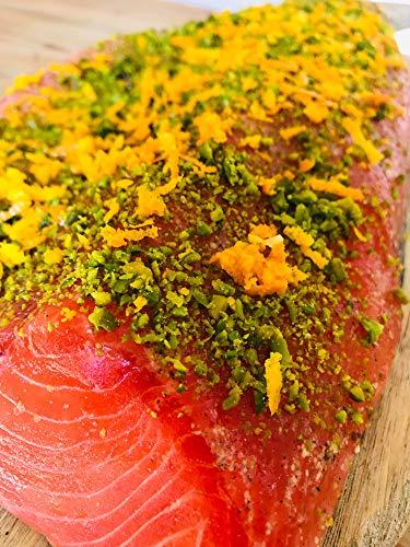 Gebeizte (Graved) Fjordforelle mit Gin, Pistazien und Orangenzesten ca 1 kg