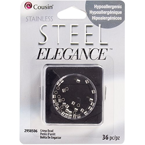 Cousin DIY 36 Piece Stainless Steel Crimp Beads, 2mm, Silver