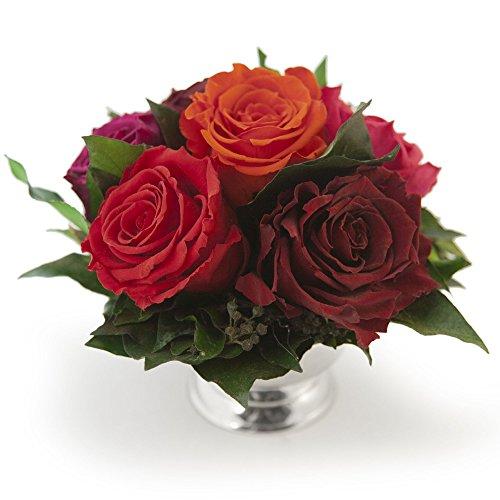 ROSEMARIE SCHULZ Heidelberg Blumengesteck 6 rotgemischte Rosen und Efeublätter - 3 Jahre haltbar - Ø ca. 17-20cm, Höhe ca. 15cm