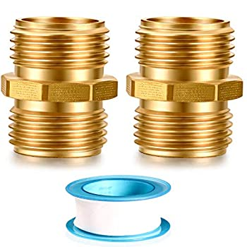 YELUN Solid brass Garden Hose Fittings Connectors Adapter Heavy Duty Brass Repair male to male double male faucet leader coupler dual water hose connector 3/4  GHT Double Male  2 Pcs
