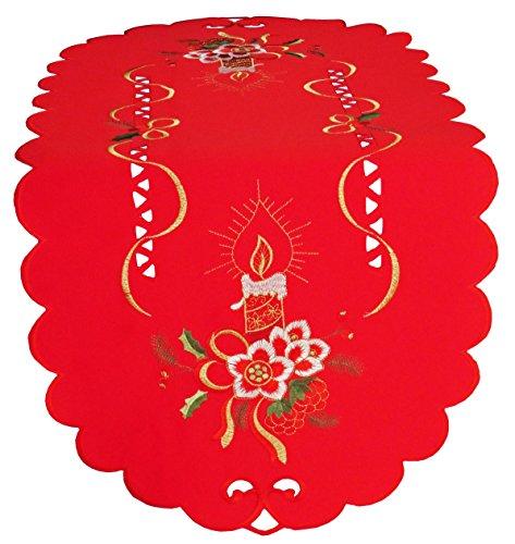 Laura S Rote Weihnachts-Mitteldecke mit Gesticktem Kerzen-Motiv in den Farben Gold, Weiß und Tannengrün. Ovaler Tischläufer erhältlich. (ca. 40cm x 90cm oval)