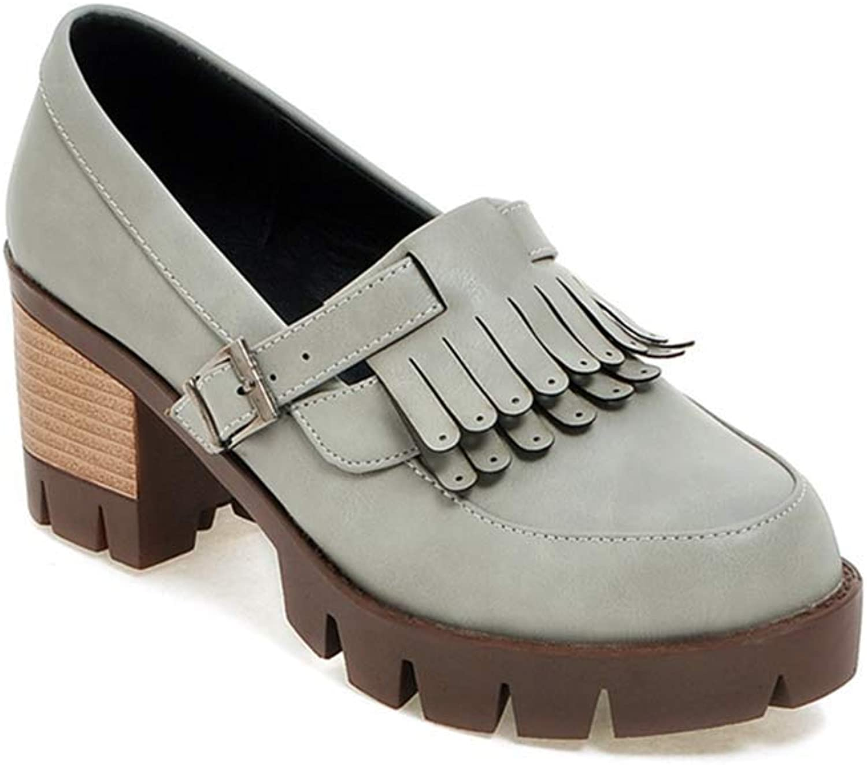Elsa Wilcox Women Round Toe Slip On Chunky High Heel Vintage Dress Oxfords shoes Tassel Platform Oxford Pump