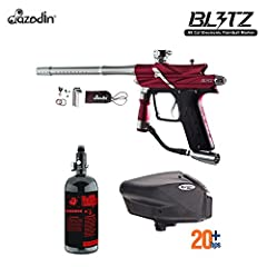 Azodin Blitz 3 HPA Paintball Gun Package Streamline Design, Durable Construction, Lightweight, New Feather Regulator, User-Friendly HPA Paintball Gun Package Includes: 48/3000 Compressed Air Tank (Shipped Empty) & Empire Halo Too Electronic Paintball...