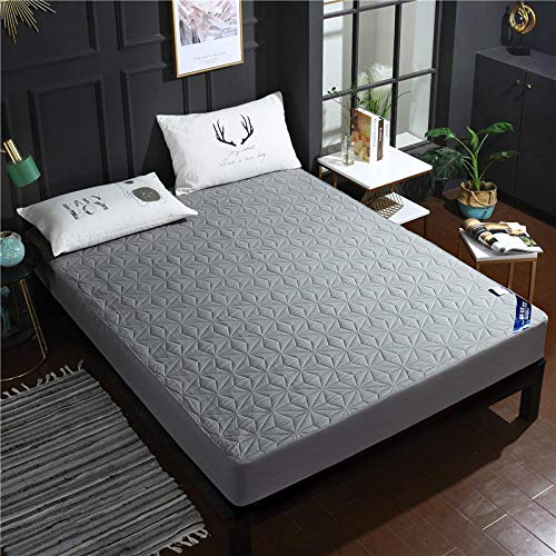 lhmlyl Matresss Protectorthickened Solid Color Quilted Waterproof Bed Sheet Single Piece Breathable And Washable Surrounded By Cotton Protective Cover-Gray_150*200