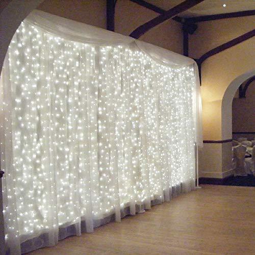 OMGAI LED Lichtervorhang, 300 LEDS Lichterkettenvorhang 3mx3m, Weiß Lichterkette Vorhang mit 8 Modi Für Weihnachten Party Schlafzimmer Innen und außen Deko [Energieklasse A+++]