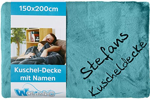 Wolimbo Wohndecke Kuscheldecke mit Namen Bestickt Farbe: türkis Größe: 200x150cm Flauschdecke