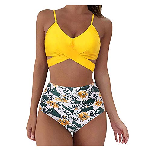 VKKV Damen Bikini, Strandmode -Bikinioberteil High Waist Sportlich Bauch FüR Mä Dchen Teenager, Damen bedruckter Bikini-Badeanzug mit Riemchenaufteilung