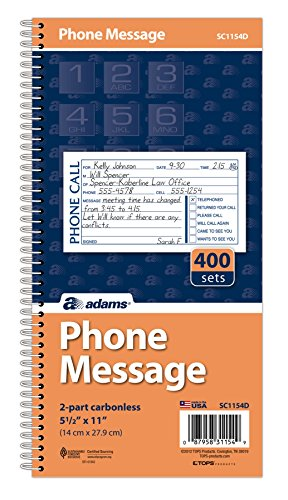 Adams Phone Message Book, Carbonless Duplicate, 5.50 x 11 Inches, 4 Sets per Page, 400 Sets per Book (SC1154D)