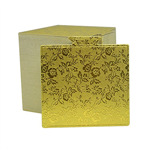 Enlynn 3.5'x3.3' Mini Single Portion Cake Board, Cardboard Cake Base (Gold), 100 pcs