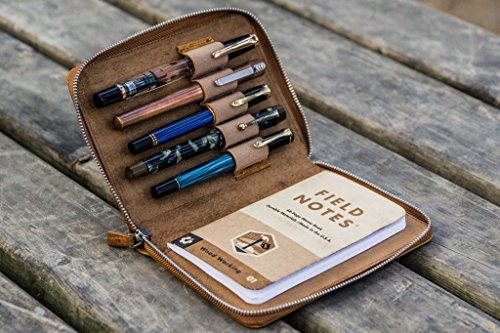 Leather Zippered 5 Slots Pen Case - A6 - Pocket Notebook Cover - Crazy horse Brown