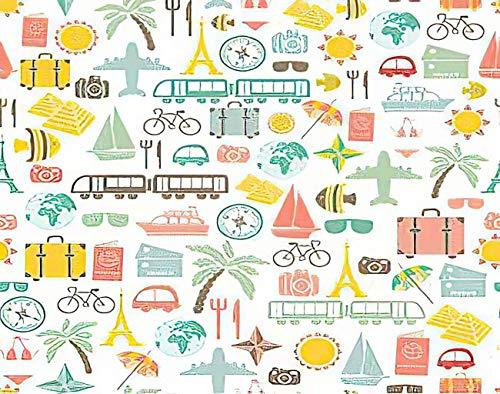 Y·JIANG Pintura colorida por números, para viajes de verano, pasaporte, mosca, avión, turismo, mar. Pintura acrílica al óleo por números, para adultos y niños, decoración de pared, 50 x 50 cm