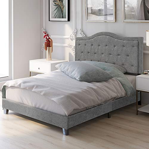 GREATMEET Platform Bed 51' Tall Headboard Platform Bed with Wood Slat Support Queen Size- Complete Bed,Easy Assembly, Taupe, Queen