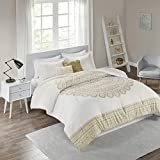 Intelligent Design Cozy Comforter Casual Boho Medallion Floral Design Modern All Season Bedding Set with Matching Sham, Decorative Pillow, Full/Queen, Nomad Gold